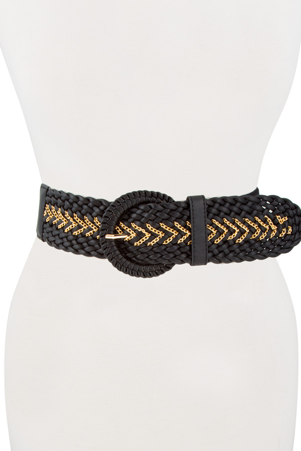 faux leather wide braided belt