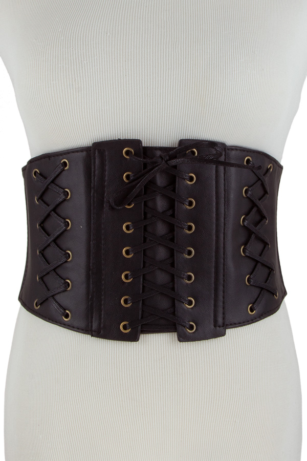 Faux leather laced up elastic belt