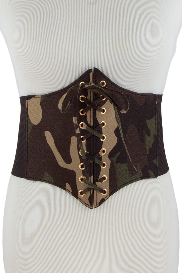 Military design laced up elastic belt