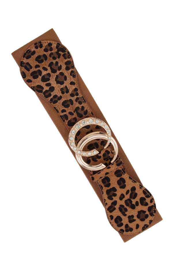 Rhinestone Accent Double C Buckle Leopard Elastic Belt