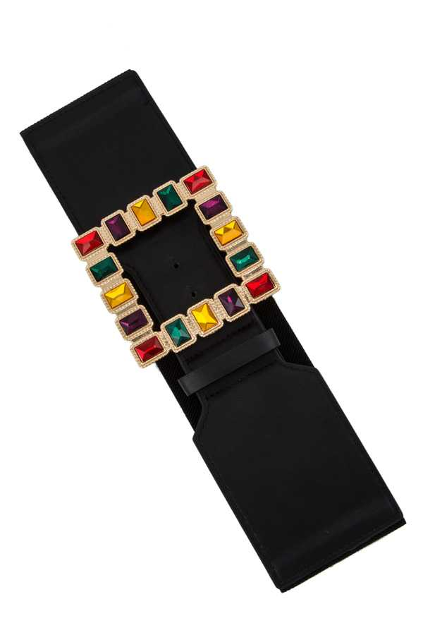 Wide Elastic Belt with Multi Color Stone Square Buckle