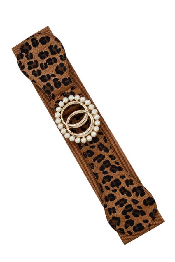 Double O Buckle with Pearl Border Leopard Elastic Belt