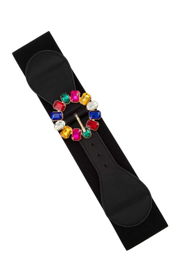 Crystal O Buckle Elastic Belt
