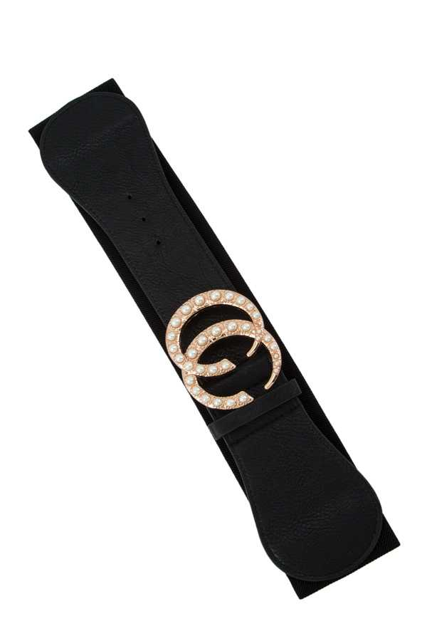 Pearl Accent Double C Buckle Elastic Belt