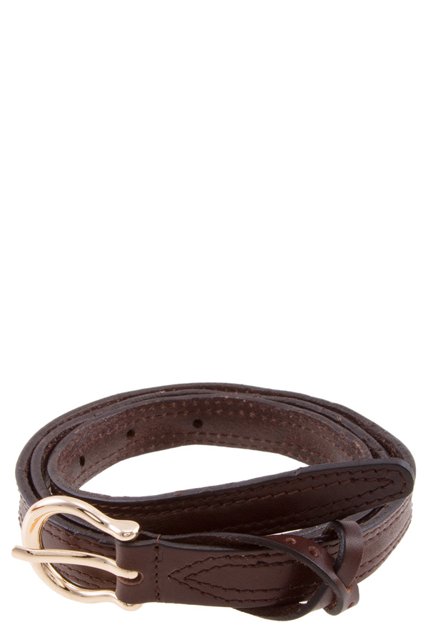 Crossed leather covered thin belt
