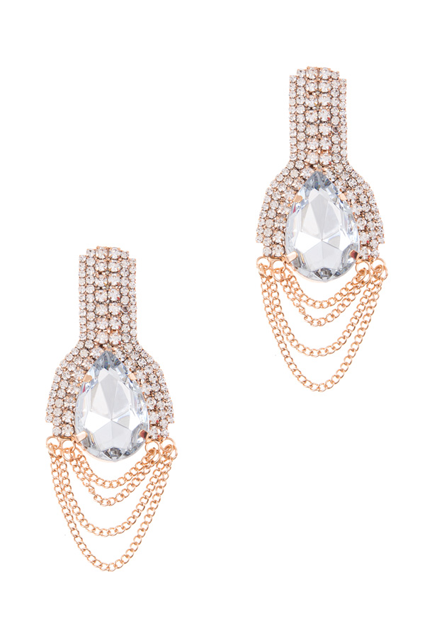Crystal teardrop with draped chain earrings