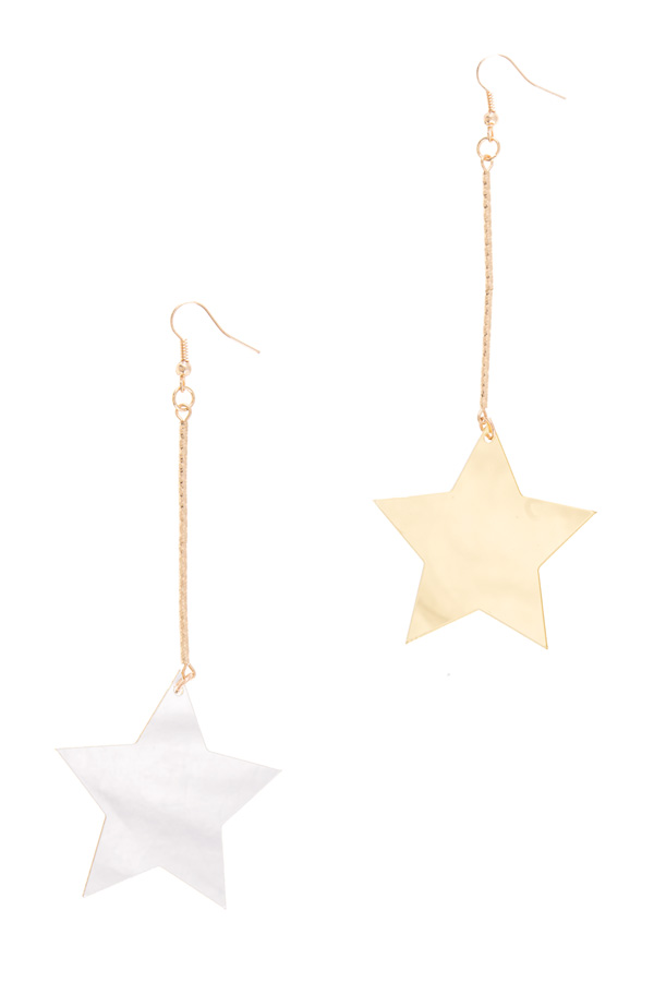 Double sided star drop earrings