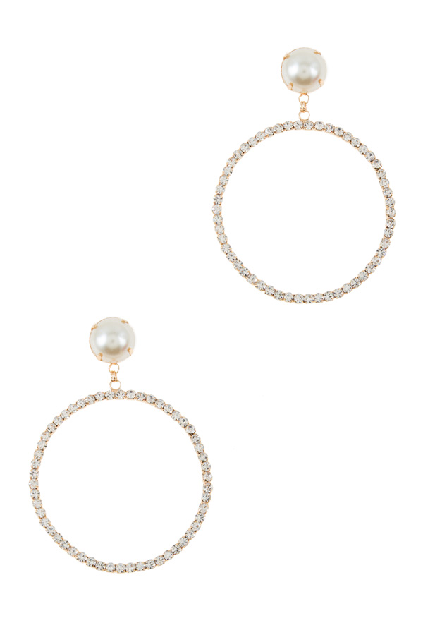 Pearls with circle rhinestone dangle earrings
