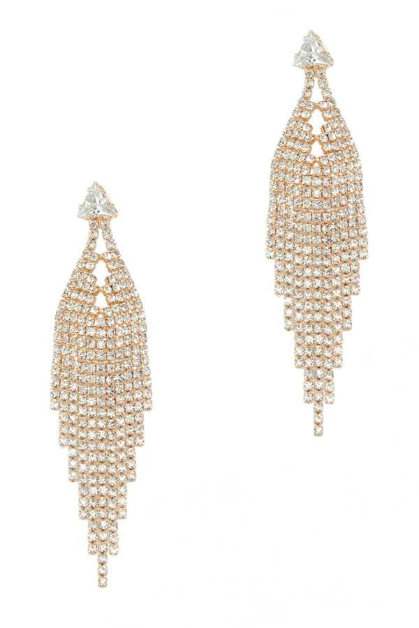 Triangle Crystal with Rhinestone Fringe Stud Earring