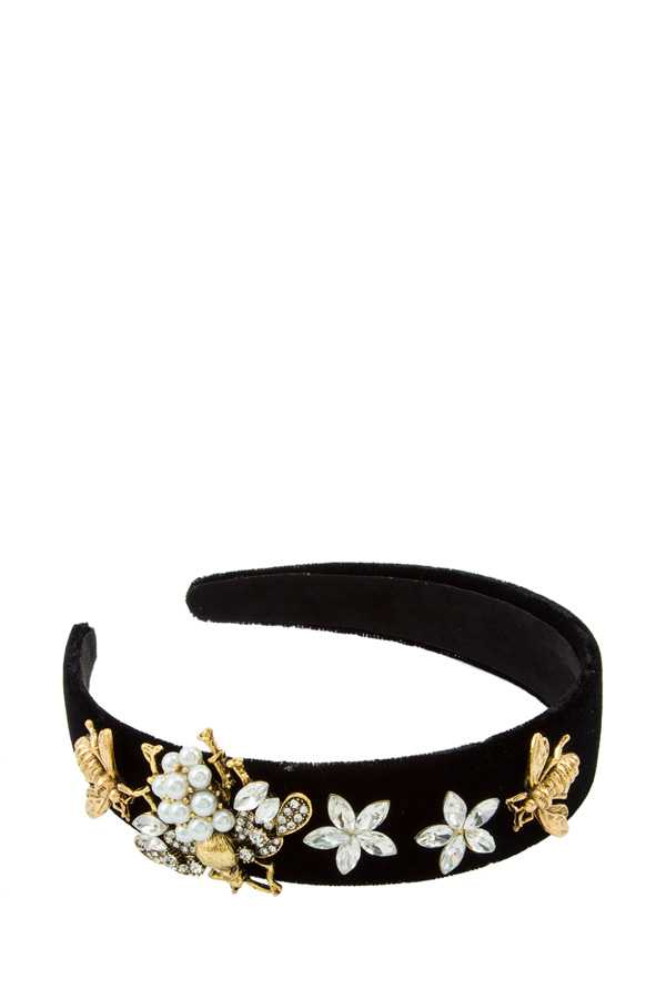 Bee and Floral Decorated Velvet Head Band