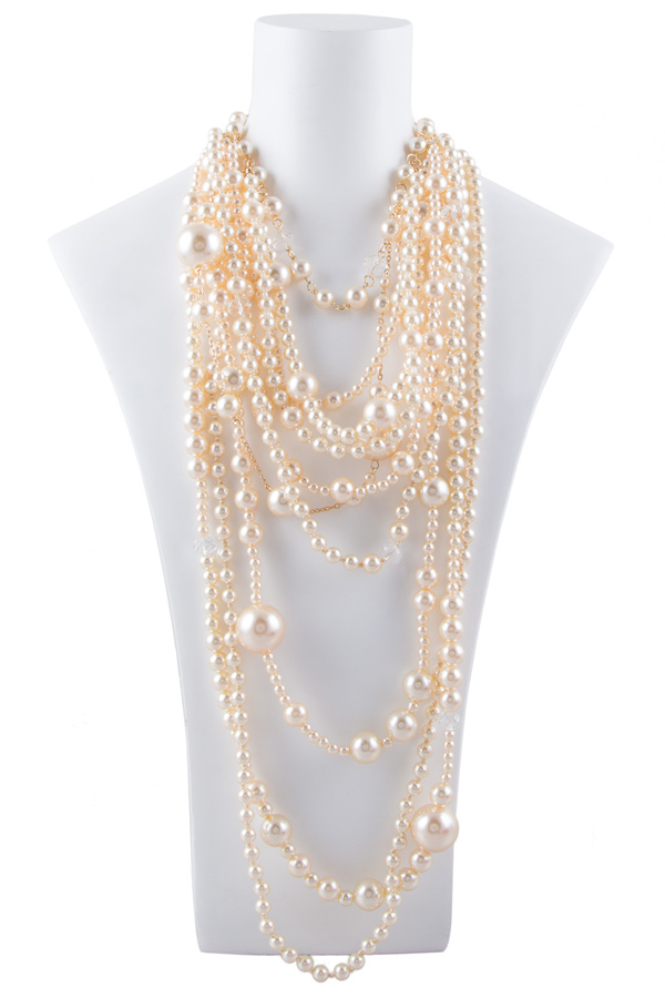 Layered pearls long necklace set