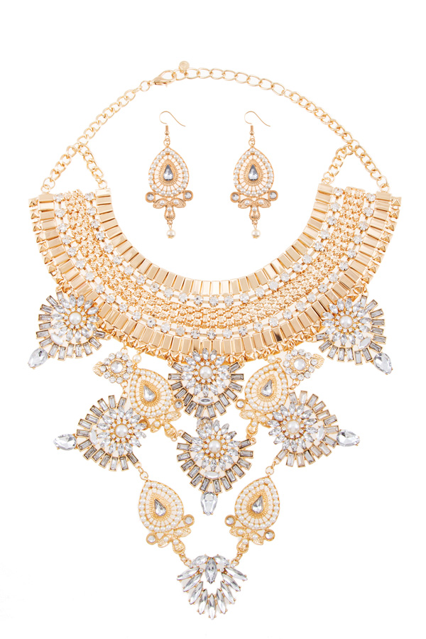 Crystal and pearl teardrop statement necklace