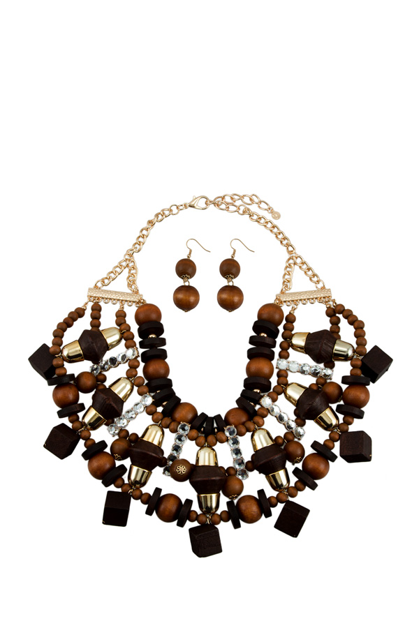 Ornate Wood with Gold Rhinestone Accent Necklace