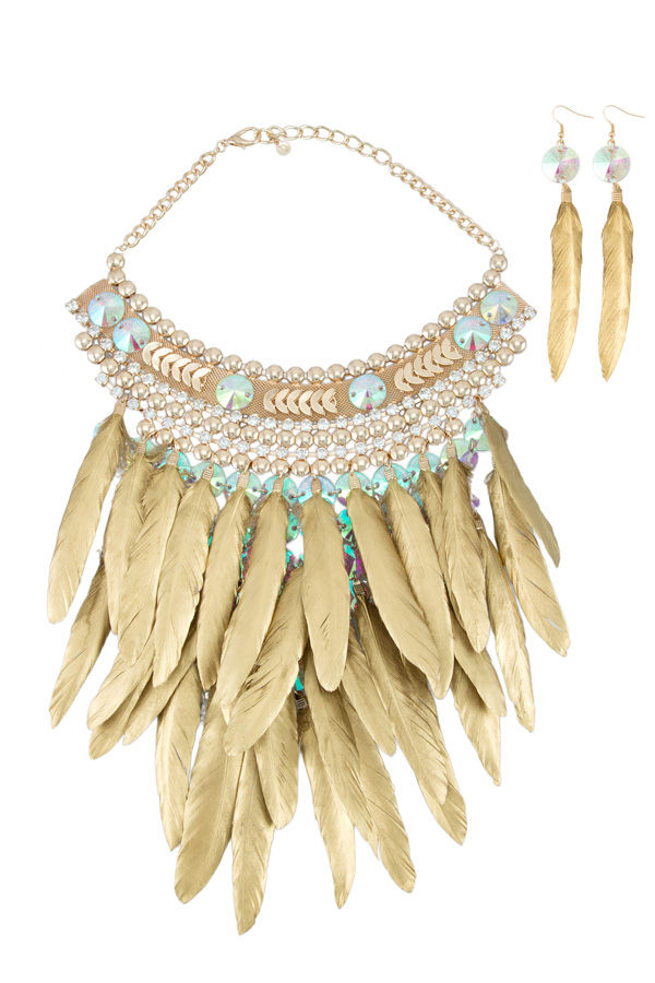 Metallic Feather Necklace