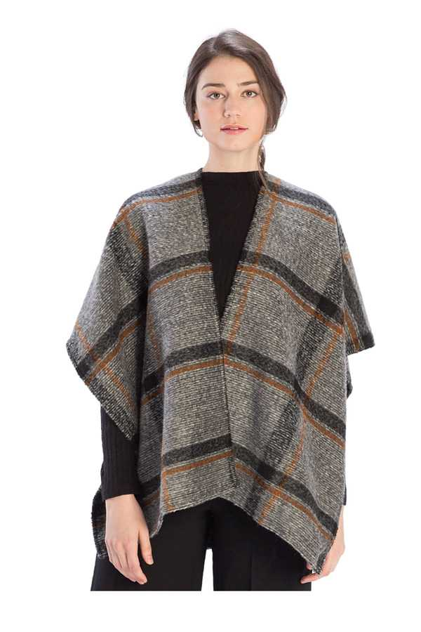 Check Plaid Wool Cover Up Poncho