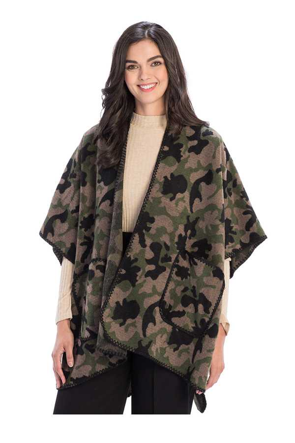 Camouflage Pattern Cape with Pockets