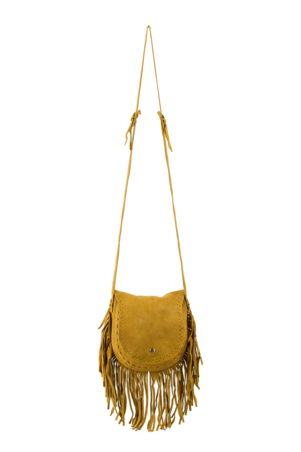 Genuine Suede Fringe Shoulder Bag