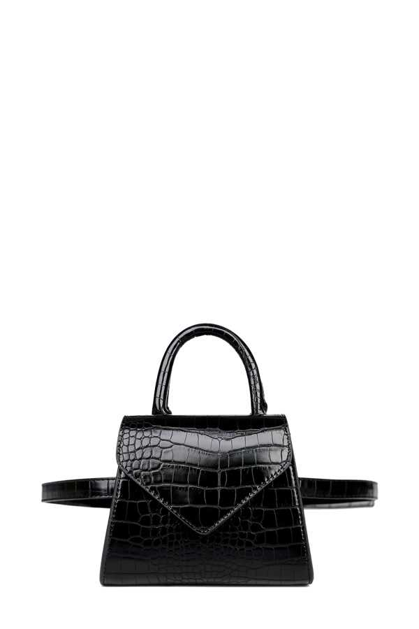 Crocodile Texture Top Handle Bag and Fanny Pack