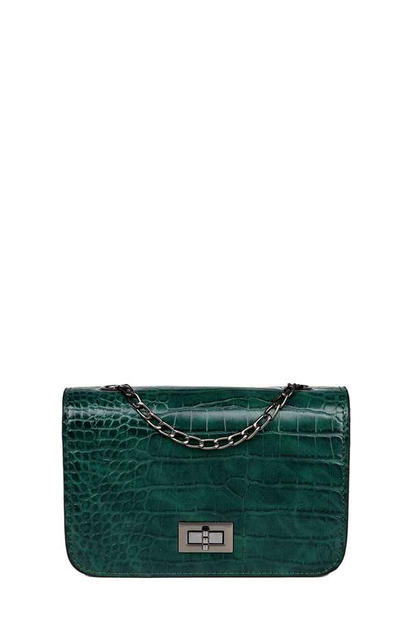 Crocodile Texture Crossbody Bag