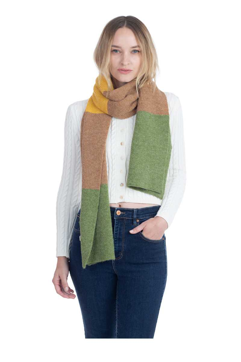 Tri-Tone Knitted Winter Scarf