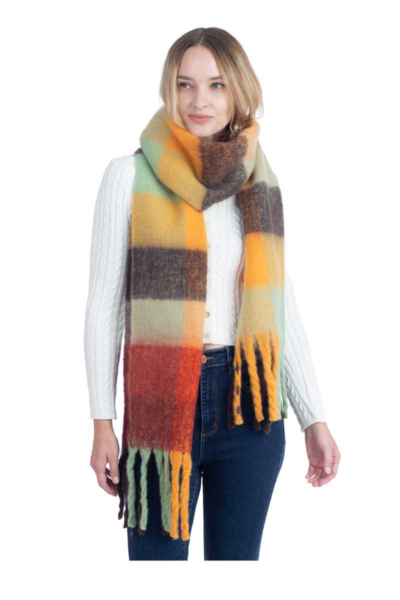Multi Color Blocks Pattern Oversized Scarf