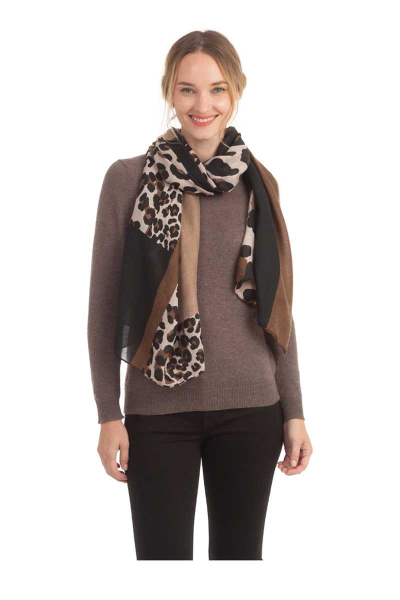 Solid With Leopard pattern Accent Scarf