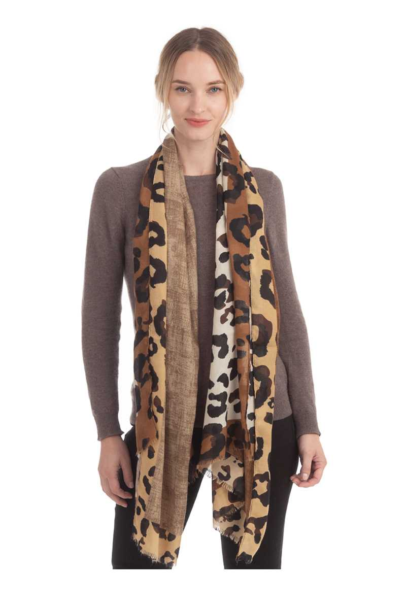 Solid And Leopard Pattern Scarf