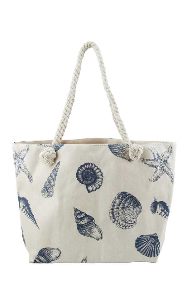 Sea Shell Print Vintage Tote Bag