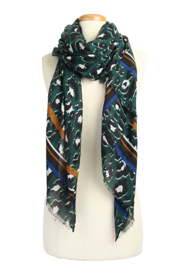 Leopard with Stripe Pattern Scarf