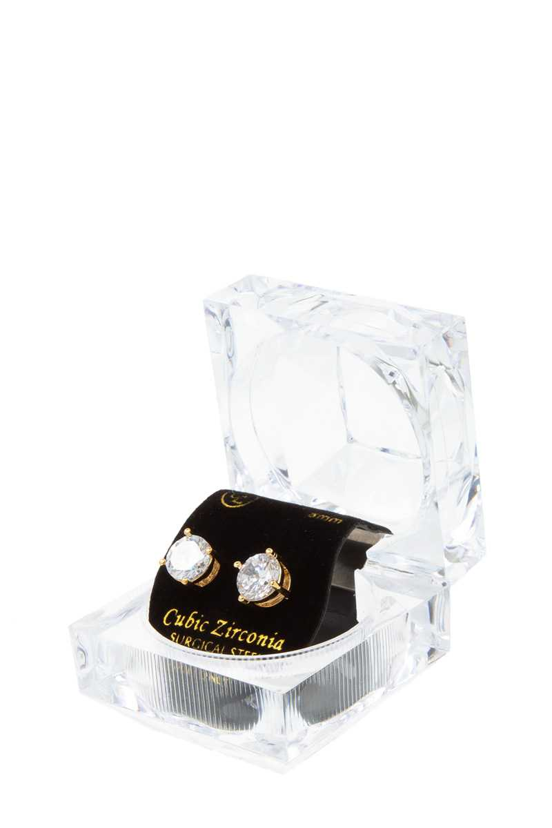 8mm CZ Stud Earrings with Case