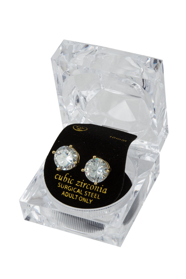 10mm CZ Stud Earrings with Case