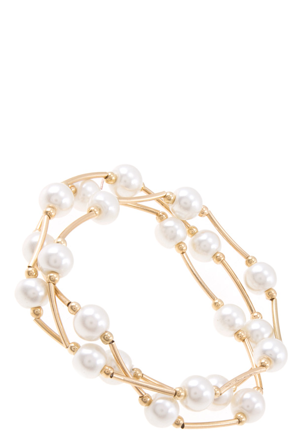 3 layered pearls stretch bracelet