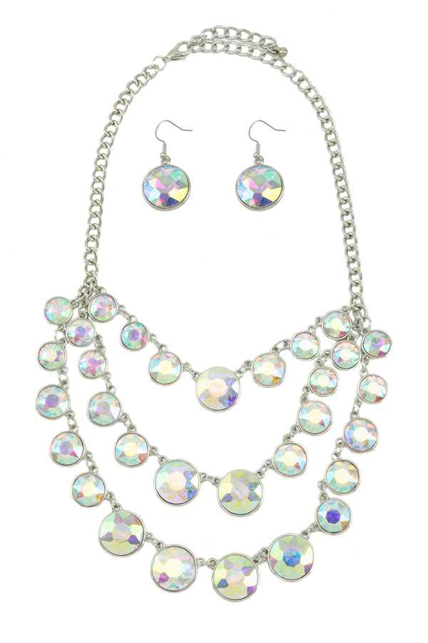 Round Crystal Layered Statement Necklace