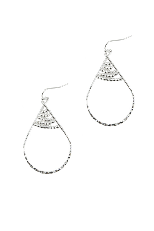 Teardrop Shape with Metal Beads Hook Earring