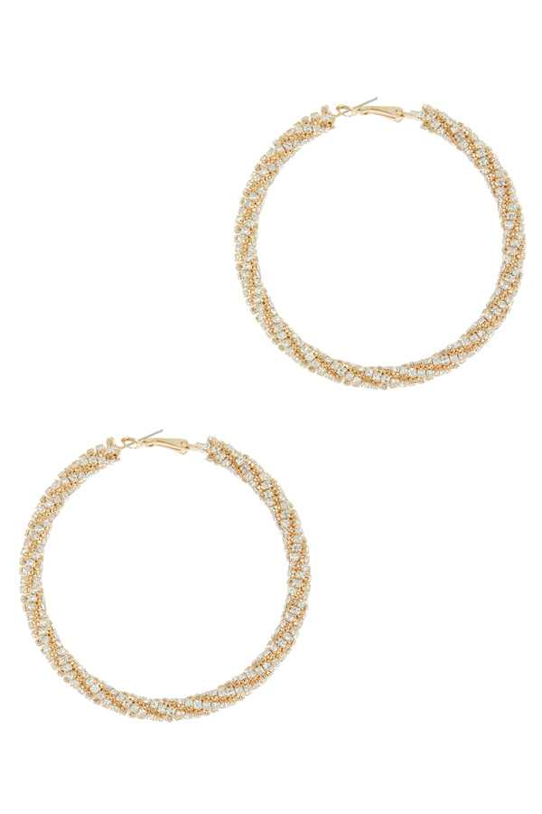 70mm Stone Twisted Hoop Earring