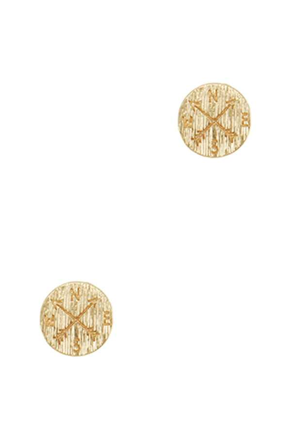Brushed Texture Compass Stud Earring