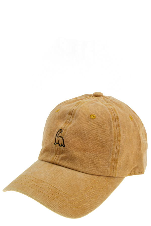 Washed dinosaur embroidered cap