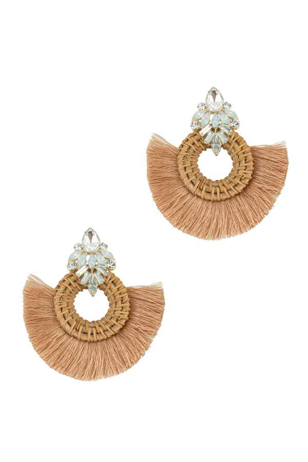 Rattan Circle with Tassel Earring