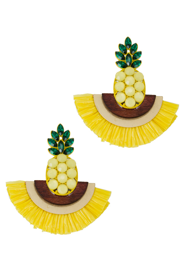 Pineapple with Paper Tassel Stud Earring