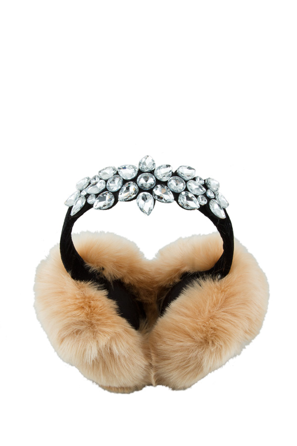 Fur Ear Muffs with Rhinestone Decorate
