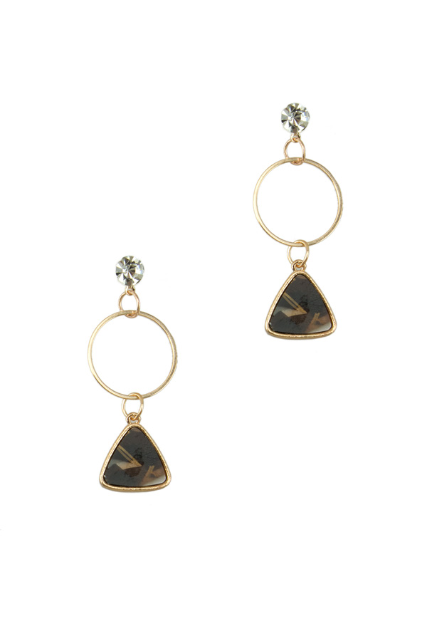 Triangle Charm and Hoop Dangle Stud Earring