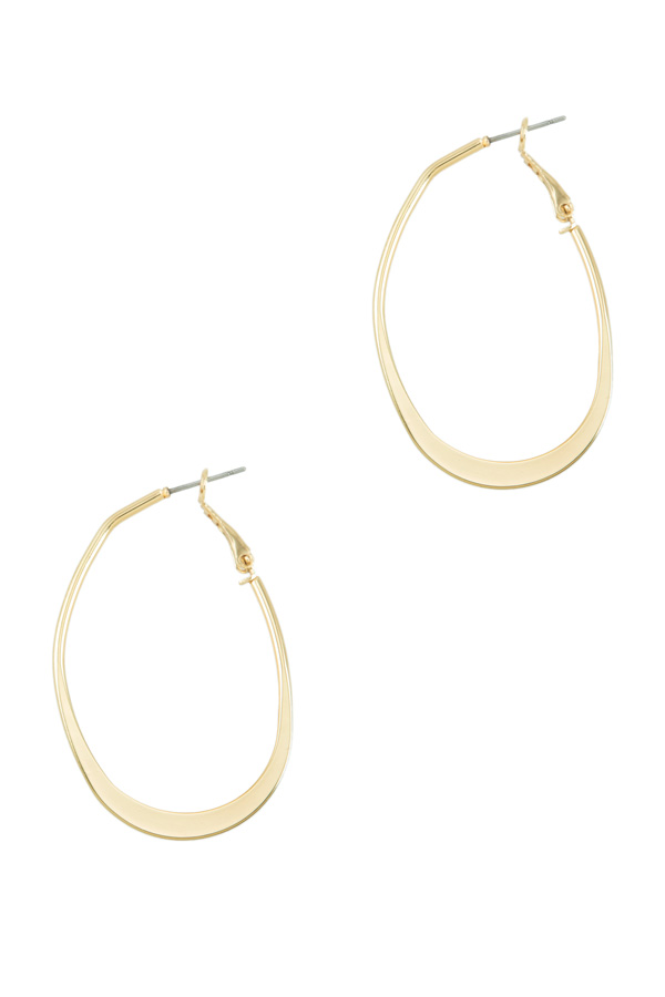 Oval Flat Metal Hoop Earring