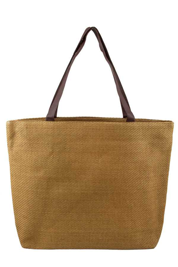 Straw Tote Bag with PU Strap
