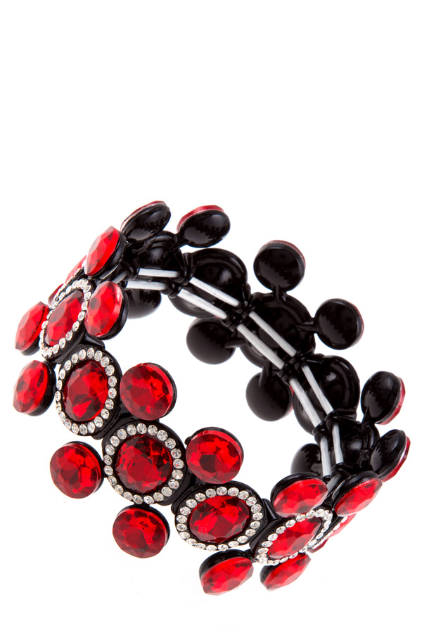 Oval crystals linked with rhinestone stretch bracelet