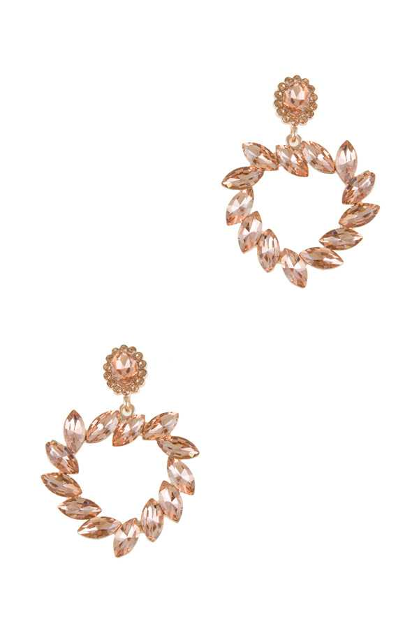 Oval Crystal Linked Charm Stud Earring