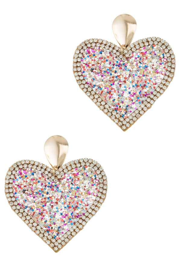 Sparkle Heart Dangle Stud Earring