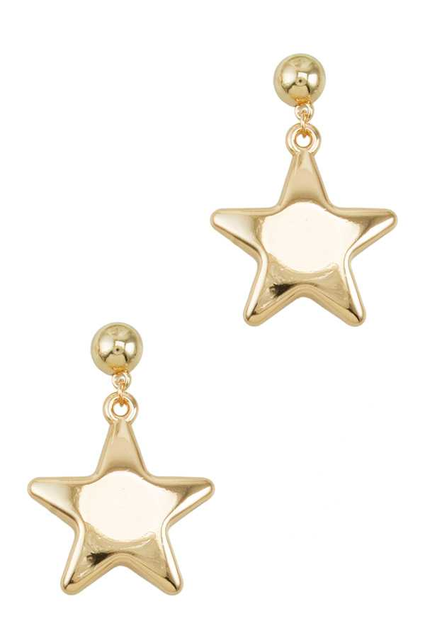 Shiny Metal Star Dangle Earring