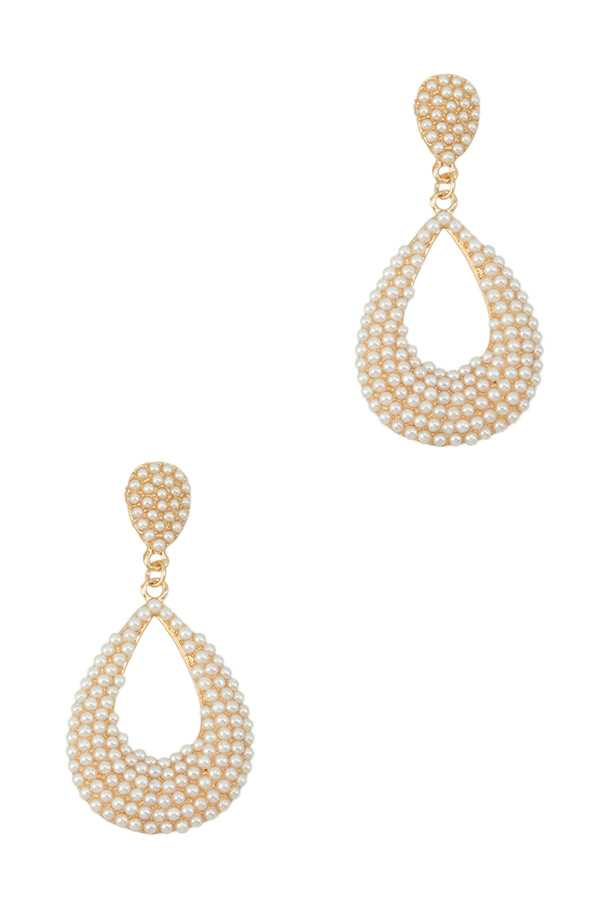 Pearl Teardrop Dangle Stud Earring