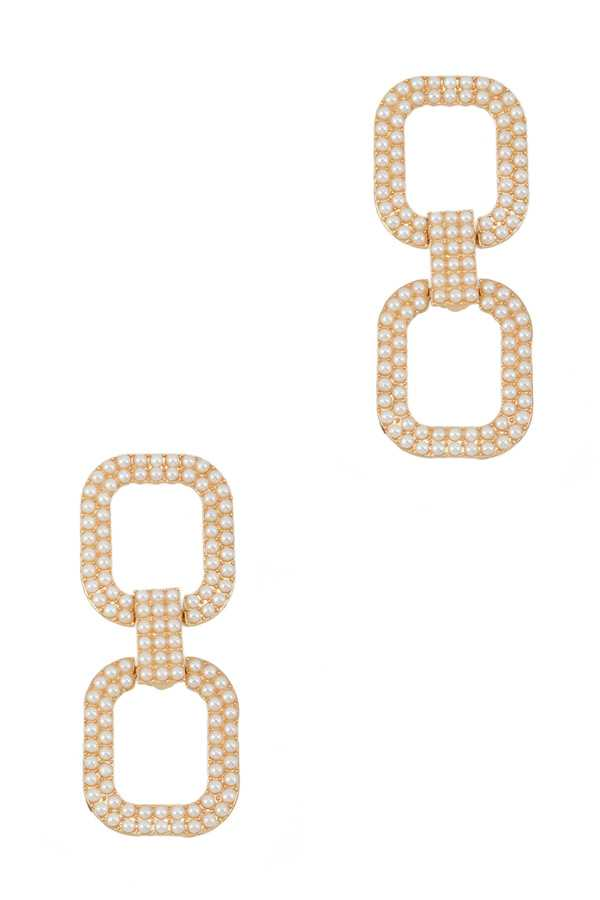 Pearl Square Linked Stud Earring
