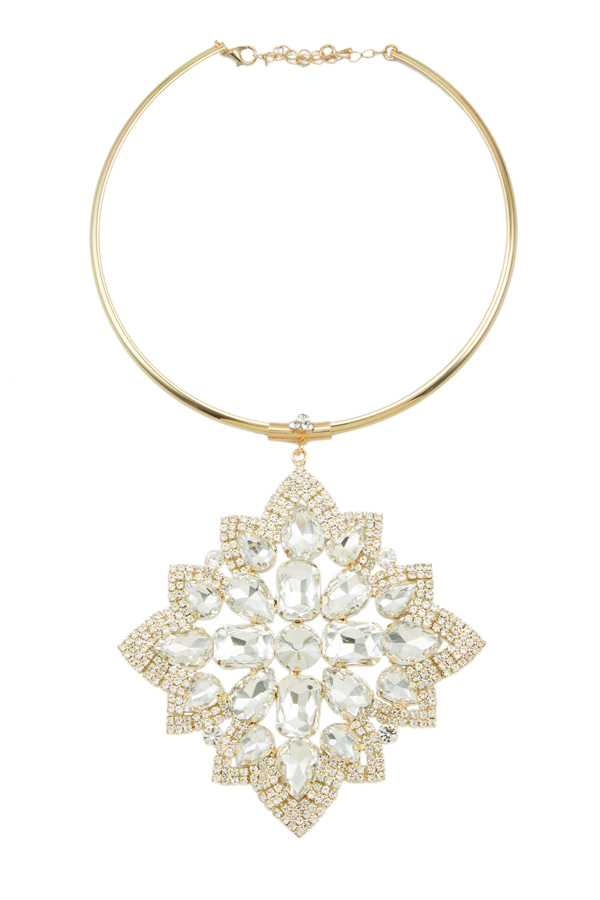 Glass Crystal Big Charm Collar Necklace